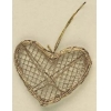 Wire/grapevine Heart Gold with Hanger 10.5cm X9.5cm